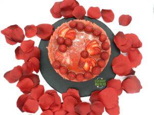 Gelatina de frutas rellena de bizcocho